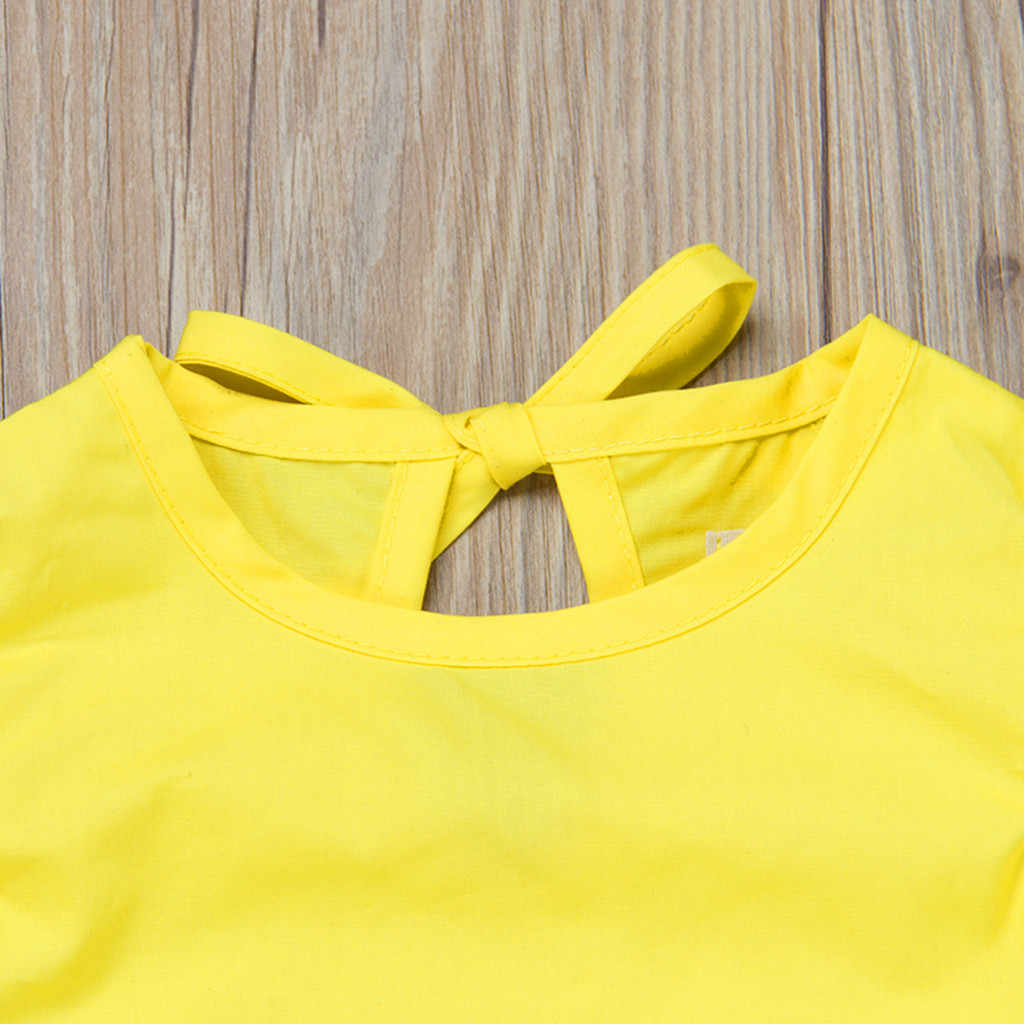 2019 ARLONEET Yeni yaz elbisesi Örgü Kız Bebek Bebek Kız Fly Kol Katı Yay Elbise Elbise Elbiseler Z0205