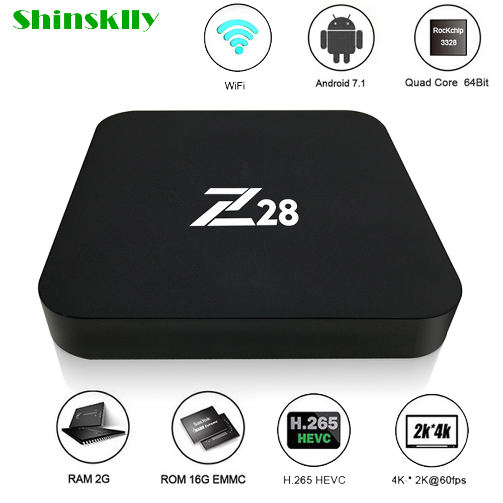 Shinsklly Z28 Android 7.1 TV Box RK3328 Quad Core 64Bit 2G+16G/1G+8G H.265 UHD 4K VP9 HDR 3D WiFi Media Player smart set top box дайва торнадо z 3 0 8 28