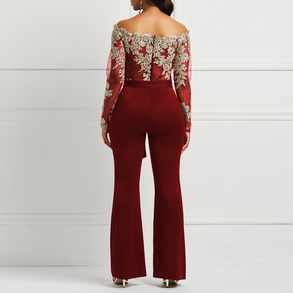 Clocolor Women Jumpsuit Luxury Lace Patchwork Mesh Transparent Off Shoulder Autumn Winter Long Sleeve Wide Legs Sexy Jumpsuit #6