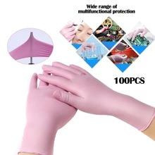 Размер S, 100 шт, розовые/синие одноразовые перчатки, латексные перчатки для тату, боди-арт, перчатки для чистки еды, противоскользящие, кислота/щелочь, резиновые перчатки