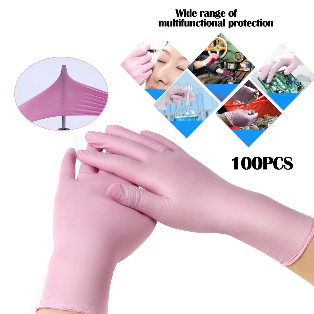 S Size 100Pcs Pink/Blue Disposable Glove Latex For Tattoo Body Art Food Glove Cleaning Gloves Anti-slip Acid/Alkali Rubber Glove