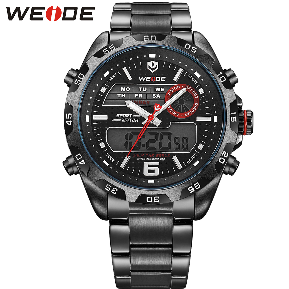 WEIDE Top Brand font b Watch b font Full Steel Men Sports Multi functional Analog Quartz