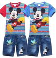 Retail 2016 Children Summer clothes Cartoon Mickey Kids Boys clothing sets short sleeve t shirt+jeans 2pcs set