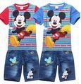 Varejo 2016 Crianças roupas de Verão Dos Desenhos Animados Mickey Crianças Meninos roupas define camiseta manga curta + calça jeans 2 pcs set