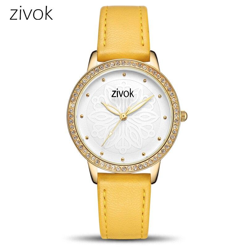 Zivok אופנה נשים גבירותיי חובבי שעונים Relogio Feminino למעלה מותג שעון יד נשים שעון עור צהוב ספורט שעונים שעה