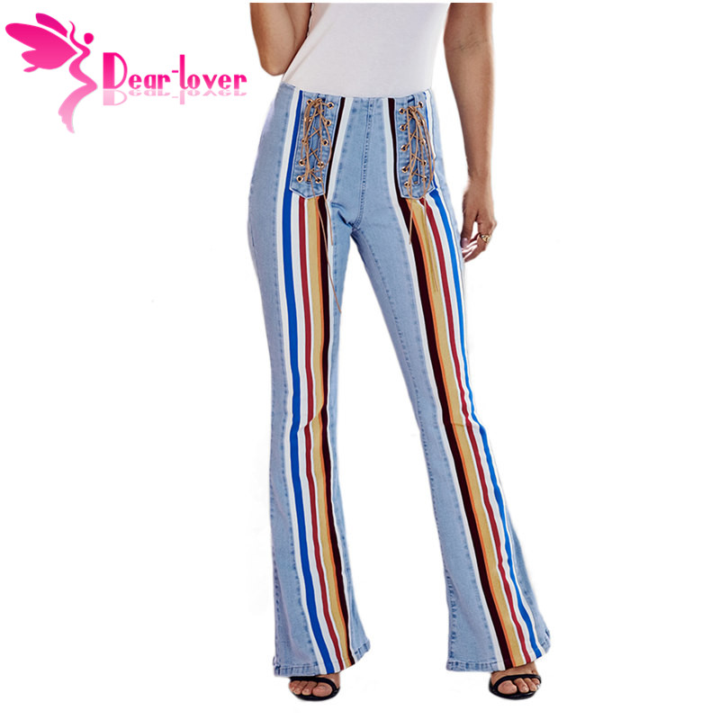 Dear Lover New Hot High Waist Flared   Jeans   for Women Lace Up Colorful Striped Front Retro Denim Trousers Blue LC786194 Plus Size