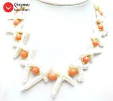 Женское Ожерелье с натуральным жемчугом qingmos 30*60 мм белая