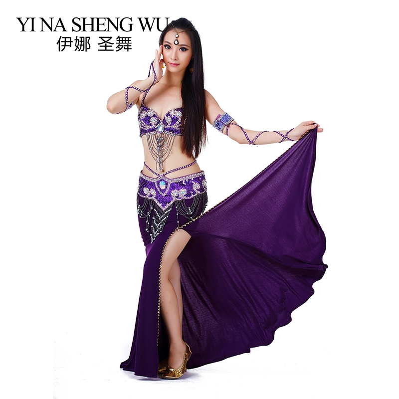 2/3pcs Set (Bra+Skirt+Belt) Indian Dance Belly Dance Costumes Free Size Women Belly Dance Beads Rhinestone Dance Performance Set
