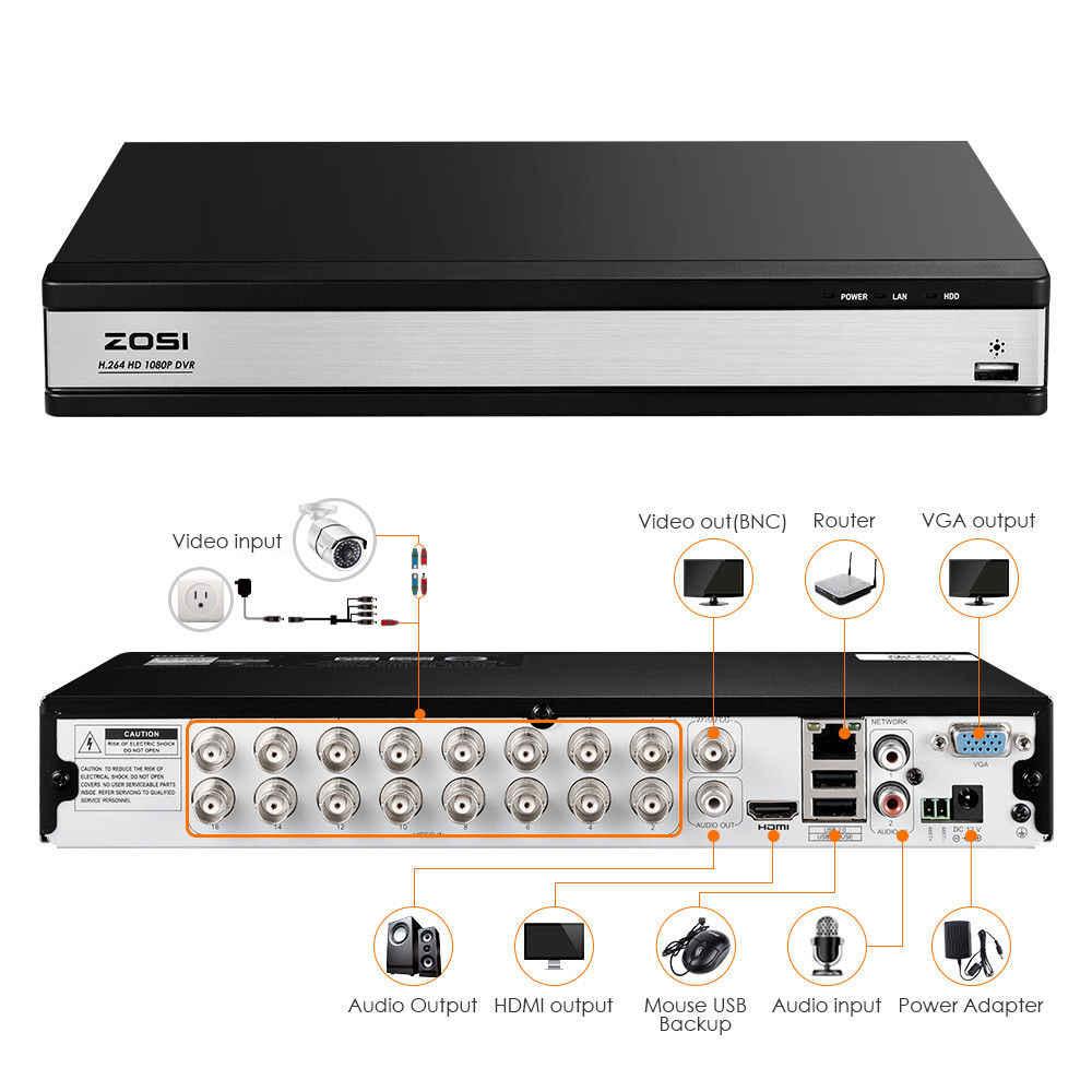 ZOSI 1080 P 16CHการเฝ้าระวังวิดีโอระบบ 16pcs 2.0MP Night Visionกลางแจ้ง/ในร่มHome Securityกล้อง 16CHชุดกล้องวงจรปิดCCTV DVR