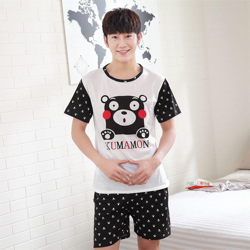 MISSKY Men Women Lovers Pajamas Sets Soft Summer Smooth Milk Silk Fashion Casual Home Wear Set Male Sleep Wear