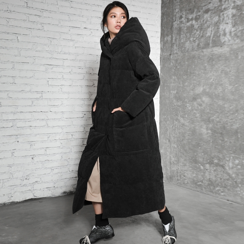Women Retro Long Down Jackets Winter Hooded Thickening Straight Down Parkas for Women