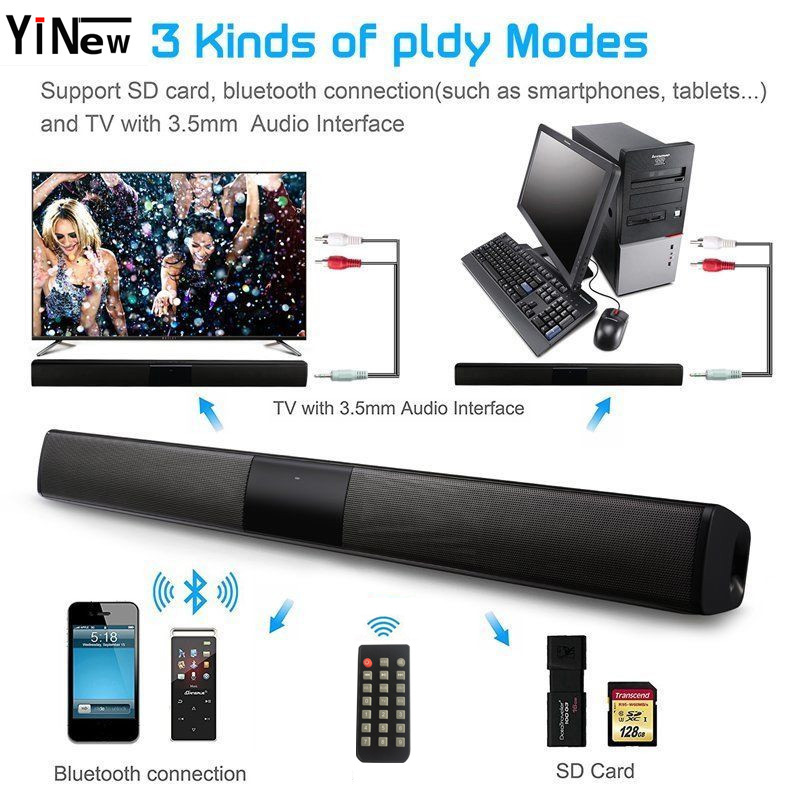 US $36 46 31% OFF|20W Soundbar Subwoofer Wireless Bluetooth Speaker Column  Sound Bar FM Radio with Remote control For TV Computer iPhone Android-in