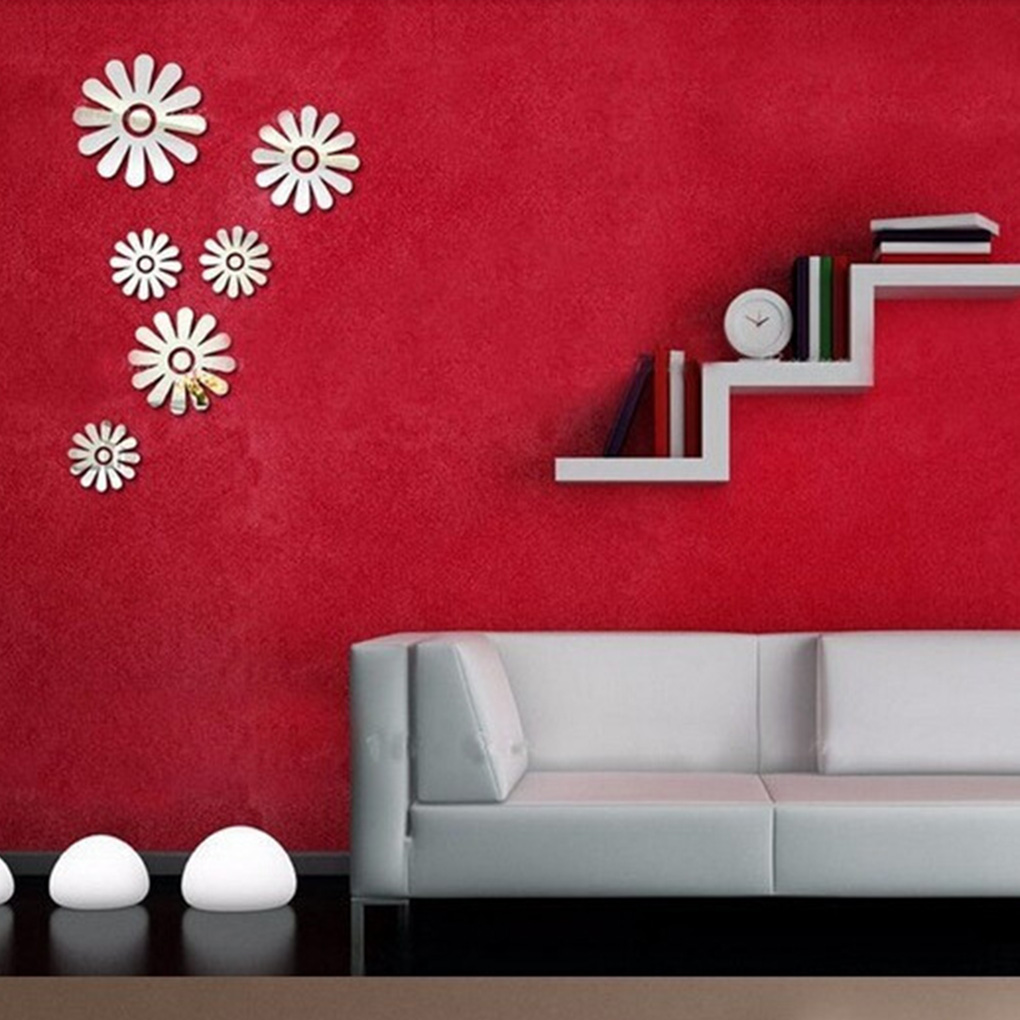 online buy wholesale nice wall stickers from china nice wall 6pcs 3d flowers mirror wall stickers nice home decoration sticker decor diy china mainland