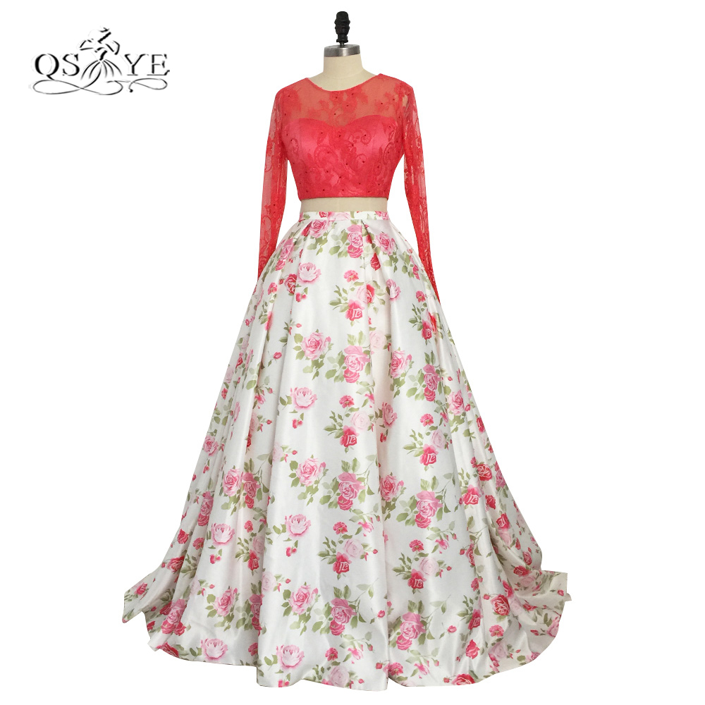 2018 New 3D Floral Flower Pattern Print Prom Dresses Robe de Soiree Long Sleeve Red Lace Top Sweep Train Evening Party Gowns