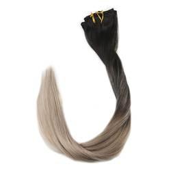 Полный блеск Dip окрашенные Ombre клип в волосы remy Расширения цвет # 1B выцветания до 18 7 шт. 50 г настоящие волосы клип в человеческих волос для