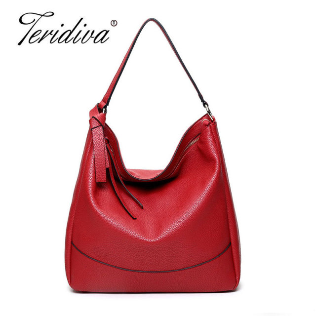 0cd4fa3bb1 Teridiva Wholesale Large Women Hobo Bags Soft Pu Leather Tassel Ladies  Handbag Tote Shoulder Bag Purse Shopper Bags Satchel