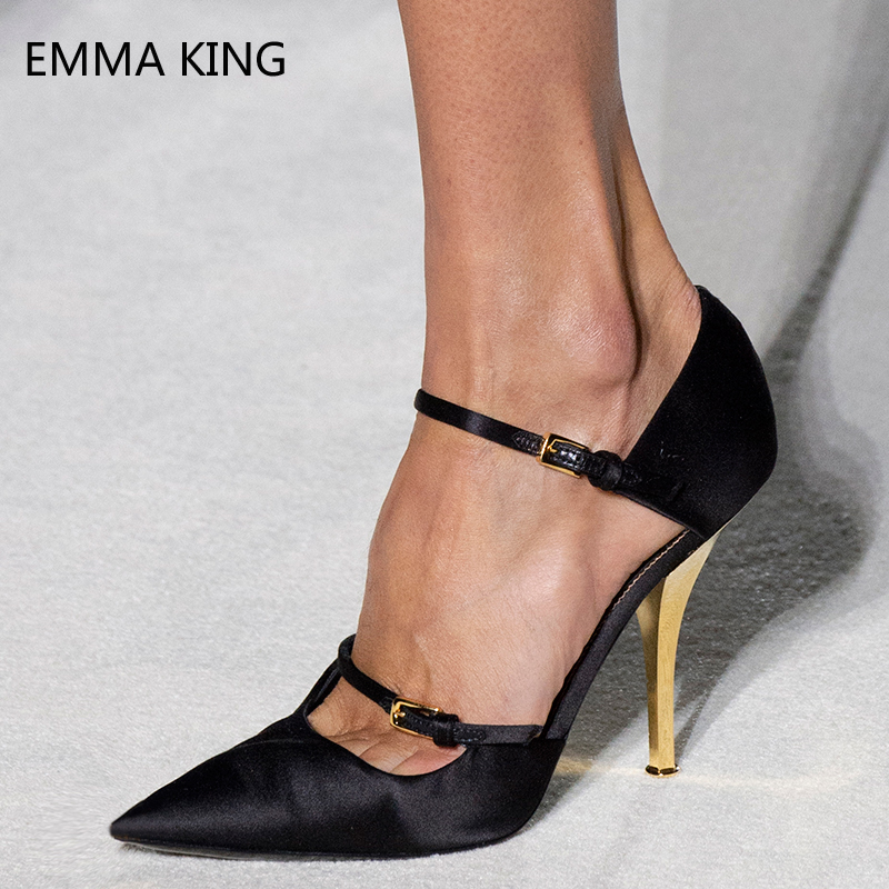 Womens Pumps 2019 Spring Shoes New Satin Stiletto Heels Casual Fashion Buckle Pointed Toe Evening Party Shoes Woman High HeelWomens Pumps 2019 Spring Shoes New Satin Stiletto Heels Casual Fashion Buckle Pointed Toe Evening Party Shoes Woman High Heel