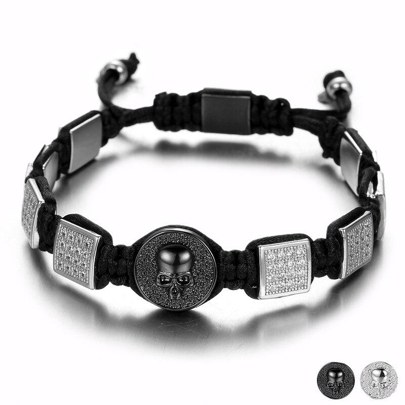 Unique Design 3D Skull On Round Crystal Coin Braiding Bracelets Black White Strass Square Rivet Rope Chain Men Bracelet Jewelry