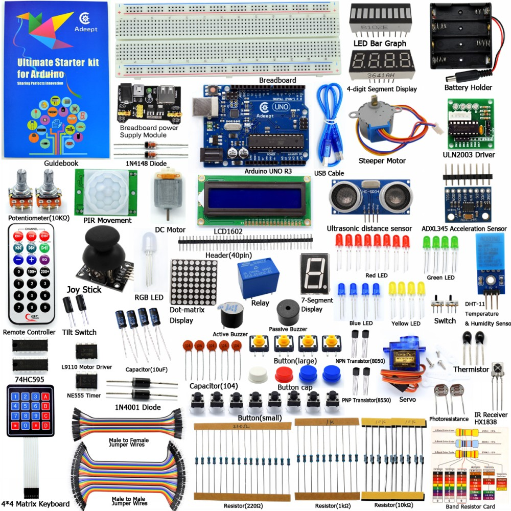 Adeept bricolaje eléctrico nuevo arranque definitivo Kit de aprendizaje para Arduino UNO R3 con guía Motor de procesamiento de libro LED DIY diykit
