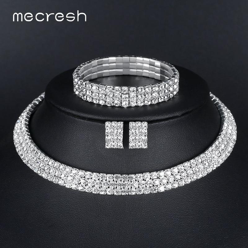Mecresh Crystal Bridal Jewelry Sets Silver Color Rhinestone Necklace - Märkessmycken - Foto 4