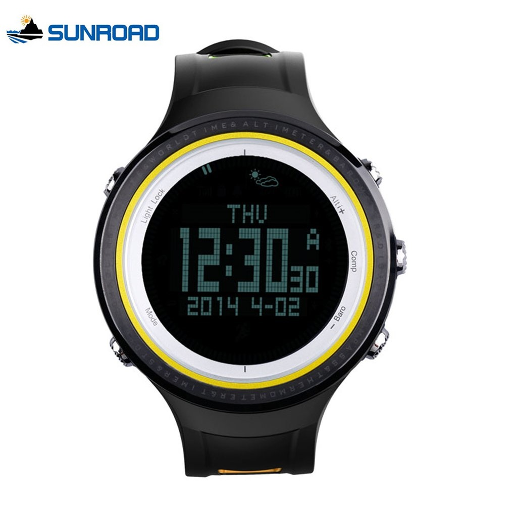 SUNROAD Men's Digital Wristwatches Outdoor Sports Backlight Compass Pedometer Thermometer Watches Altimeter Barometer Relogio