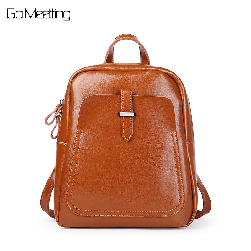купить Genuine Leather Fashion Women Backpacks Classic Lady Daily Casual Travel Bag Real Cow Leather Preppy Style Schoolbag Backpack по цене 3337.14 рублей