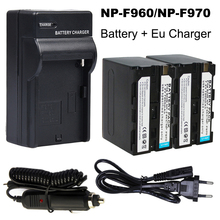 2x 7200mAh NP-F960 NP-F970 Battery Pack + DC Car Charger Kits + EU Plug Adapter for Sony NP-F770 NP-F750 F960 F970 NP-F550 doscing 4pcs 7200mah np f960 np f970 np f930 rechargeable camera battery for sony f950 f330 f550 f570 f750 f770 mvc fd51