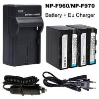 2x7200 mAh NP-F960 NP-F970 батарейный блок + DC Автомобильное зарядное устройство наборы + адаптер штепсельной вилки ЕС для Sony NP-F770 NP-F750 F960 F970 NP-F550