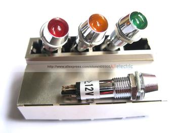 100 Pcs Opening diameter: 8mm LED Indicator Green/yellow/red Color DC 12V New