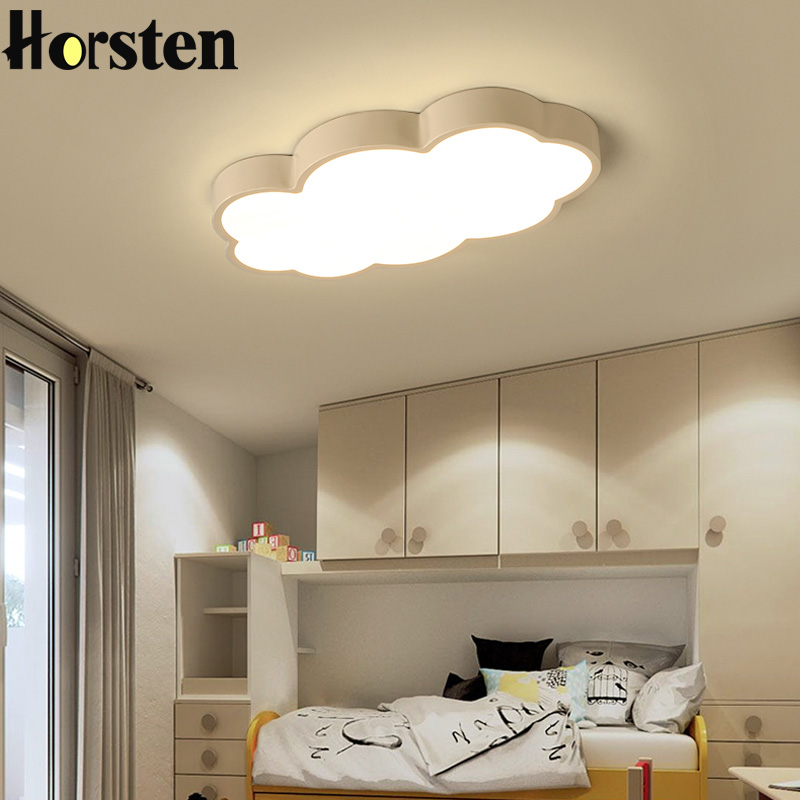 Horsten Clouds Modern Led Ceiling Lights For Bedroom Study Room Children Room Kids Room Home Deco White Pink Blue Ceiling Lamp noosion modern led ceiling lamp for bedroom room black and white color with crystal plafon techo iluminacion lustre de plafond