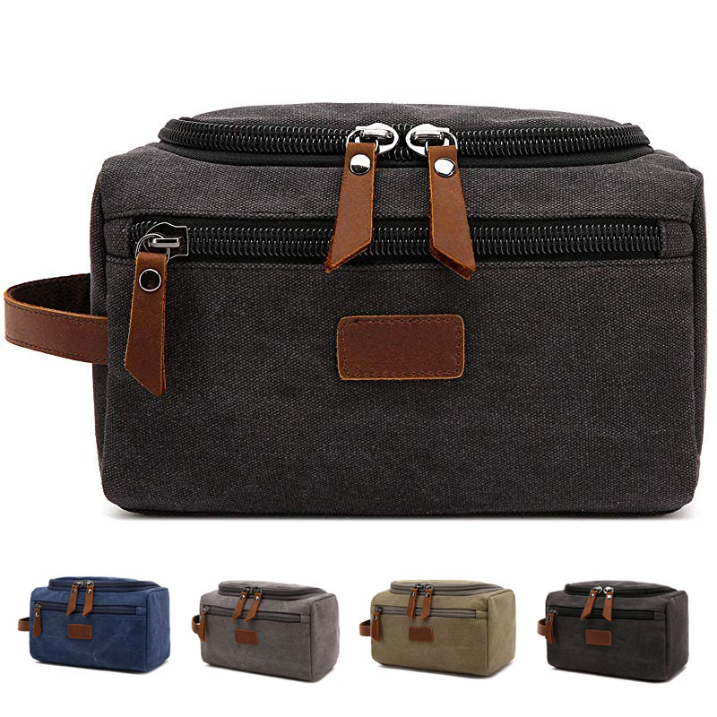 Canvas Toiletry Bag For Men Wash Shaving Dopp Kit Women Travel Make UP Cosmetic Pouch Bags Case Organizer