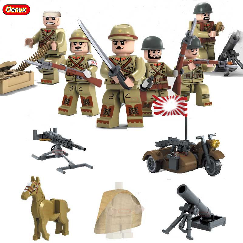 Oenux Newest 6PCS WW2 Military Chinese VS Japanese Army Building Brick Set World War 2 Taierzhang Battle Model Block Toy For Kid oenux newest swat city policeman mini dolls building block set modern military armed forces soldiers brick toy for kids gift
