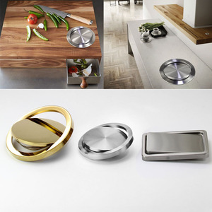 Image 1 - Stainless Steel Flap Flush Recessed Built in Balance Swing Flap Lid Cover Trash Bin Garbage Can Kitchen Counter Top