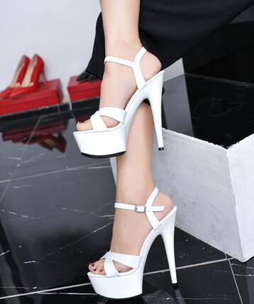 Sandals Women Shoes Platform Model T Stage Show Sexy Nightclub Thin High-heeled Shoes 15 cm Female Waterproof  Wedding Shoes sexy temptation to 18 centimeters nightclub high heeled shoes catwalk show reception appeal colourful shoes dance shoes
