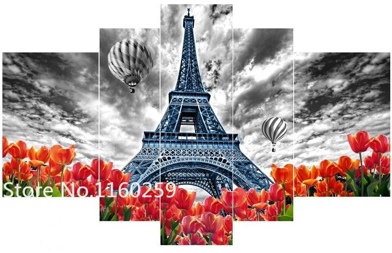 5pcs/set 5D Diamond Embroidery Diamond Mosaic Picture Landscape Paris Tower Rhinestones Diamond Painting Cross Stitch Kits