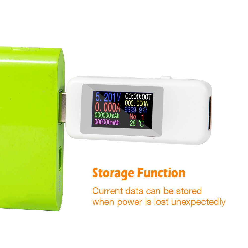 10 в 1 USB тестер постоянного тока цифровой вольтметр Амперметр электрический детектор Емкость тестер мощность ток индикатор напряжения