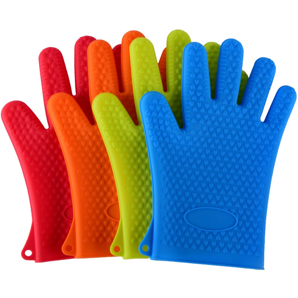 New Silicone Oven Kitchen Glove Heat Resistant Thick Cooking BBQ Grill Glove Oven Mitts Kitchen Gadgets Kitchen Accessories CA