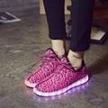 Rosa Moda hombres Zapatos Casual Light Up Mesh Zapatos para Hombres de Baja superior Transpirable X941 Led Zapatos para Adultos de Tamaño 45 Más El Tamaño 35