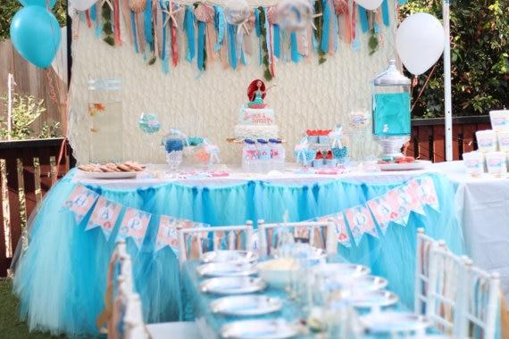CostumeTulle Table Tutu Skirt Mermaid Theme Decoration For Wedding Birthday Parties Housewarming Family Party