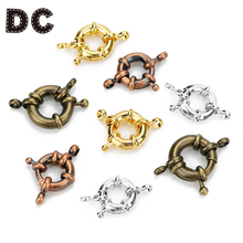 DC 10PCS/lot Rhodium Plated Small Copper Round Claw Spring Clasps 13mm for DIY Jewelry Necklace Bracelet Connector Findings F354