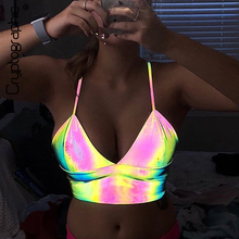 Cryptographic Holographic V-Neck Sexy Strapless Bralette Crop Tops Sleeveless Summer Festival Top Streetwear Cropped Feminino