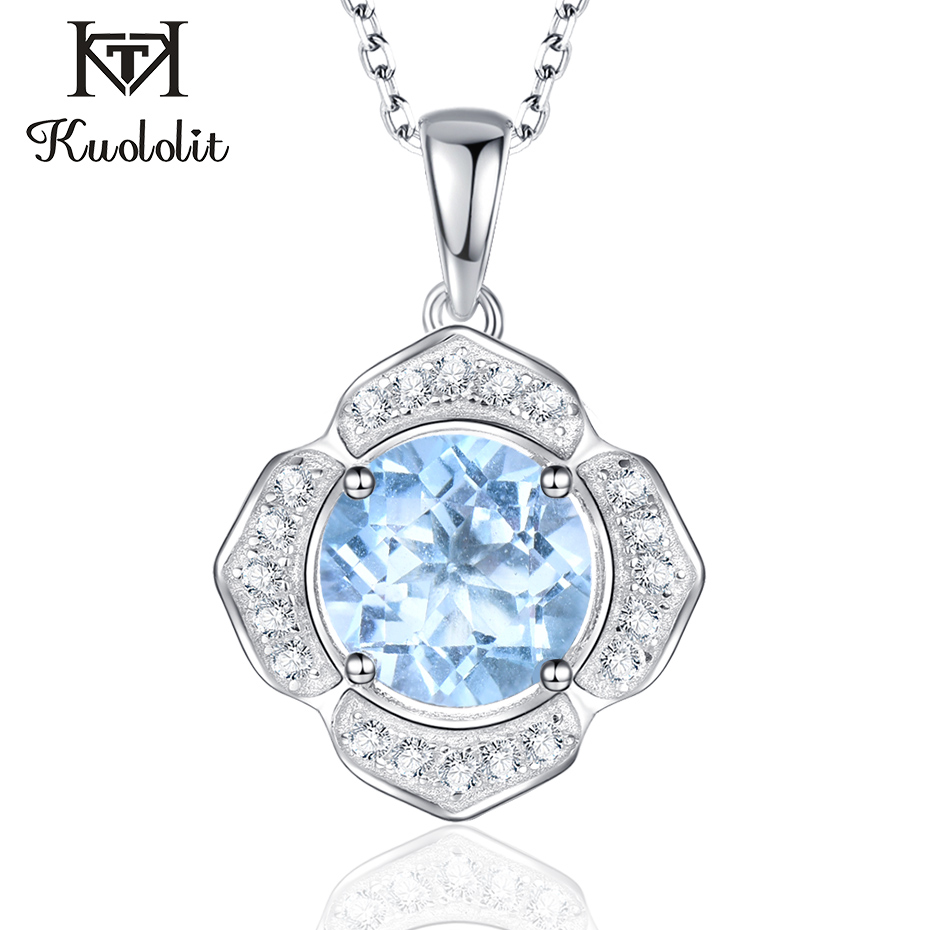 Kuololit Natural Sky Blue Topaz Gemstone Pendants Necklaces For Women 925 Sterling Silver Jewelry Custom Letter Name Pendant NewKuololit Natural Sky Blue Topaz Gemstone Pendants Necklaces For Women 925 Sterling Silver Jewelry Custom Letter Name Pendant New