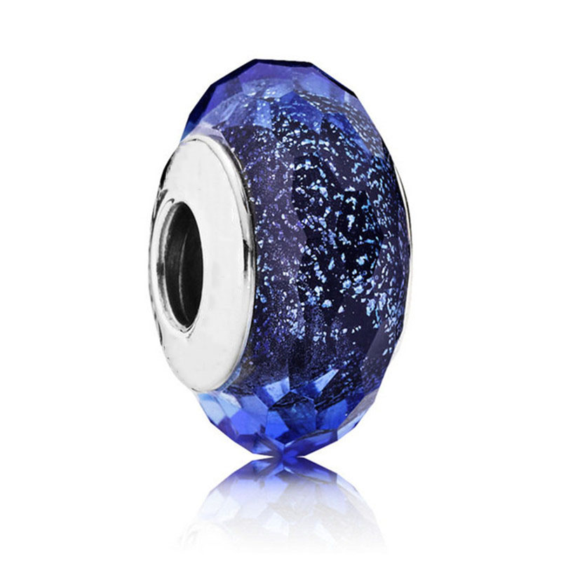 925 Sterling Silver Bead Iridescent Blue Faceted Murano Glass Charm Fit Original Pandora Bracelets Bangles for Women DIY Jewelry in Beads from Jewelry Accessories