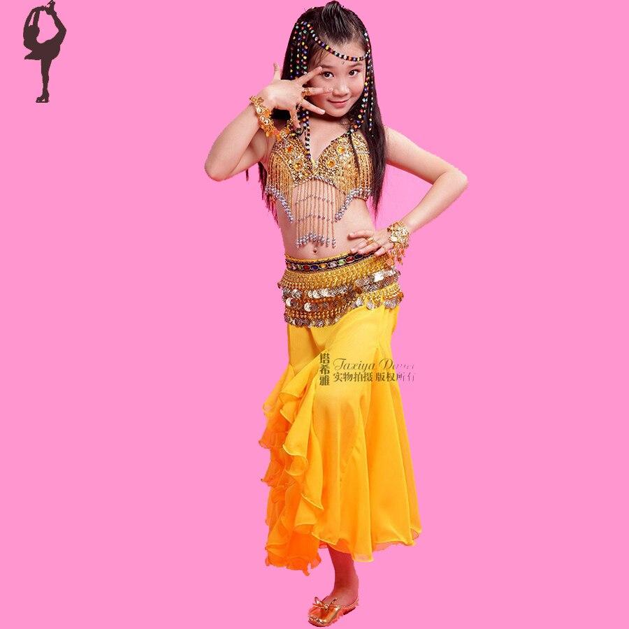 2018 filles danse du ventre robe 2 pièces soutien-gorge et jupe enfants vêtements pour danse enfant ventre danseur Costume rouge/Rose/jaune vêtements indiens