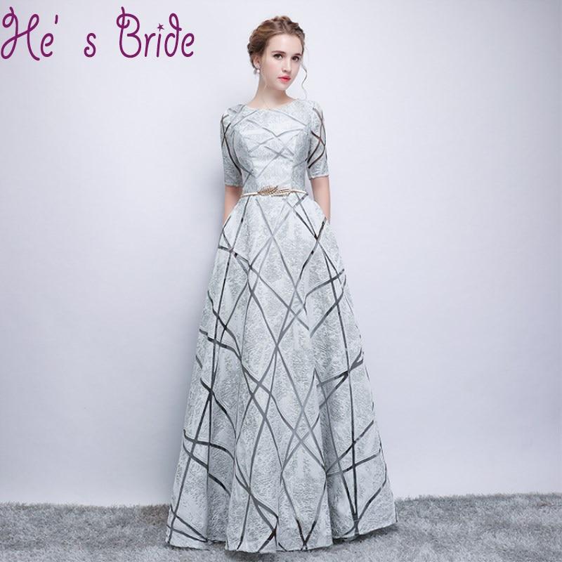 Robe De Soiree The Bride Banquet O Neck Half Sleeves Evening Dress Floor Length Elegant Pockets