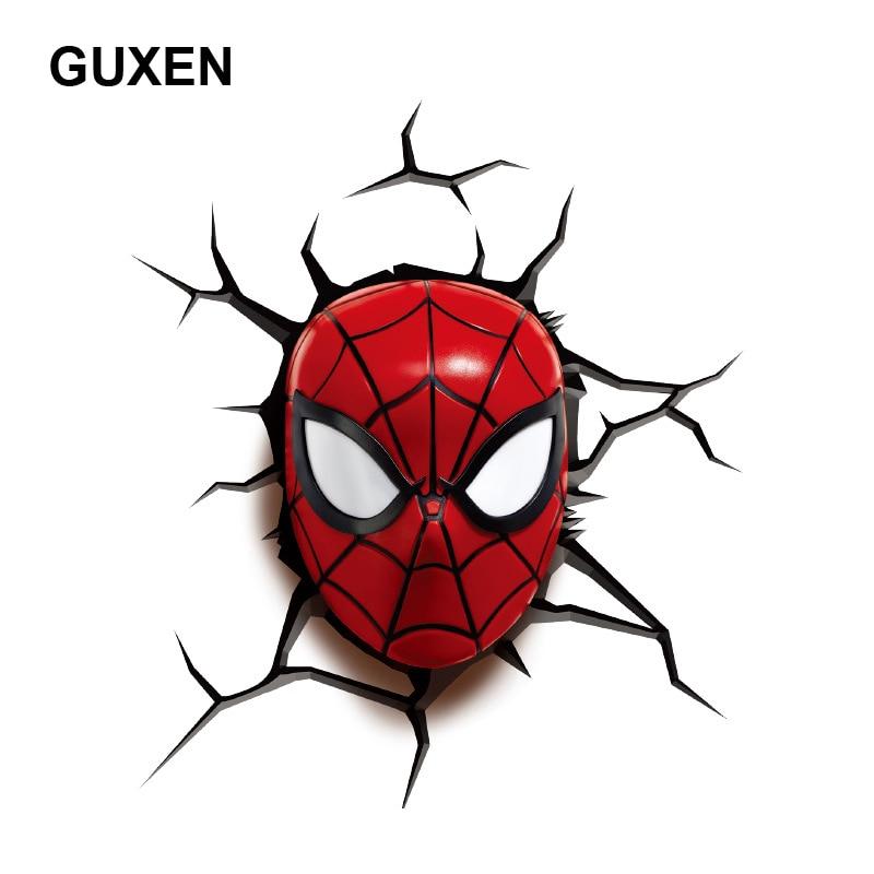 Guxen 3D Marvel Spider Man Head Shaped Creative Gifts Cartoon Wall Night Light For Kids Child Bedroom Sleeping LED Lighting superior spider man volume 3