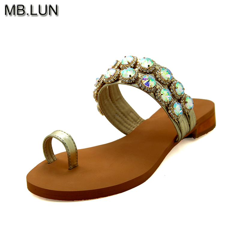 Summer Genuine Leather Flat Flip Flops Rhinestone Sandals Women Shoes 2017 Ladies Italy Jewelry Shoes Woman Size 12 13 MB.LUN