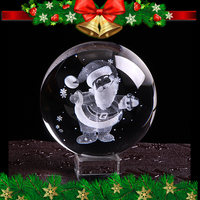 80mm Laser Engraved Santa Claus Crystal Ball 3D Miniature Glass Ball Christmas Decorating Sphere New Year Gift Home Decor