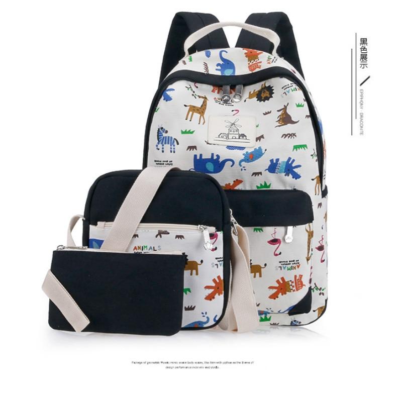 Women Backpack 3pcs/Set Casual Printing backpack School Bag Teenage Girls Female Canvas Backpacks Travel Bags Mochilas Escolares