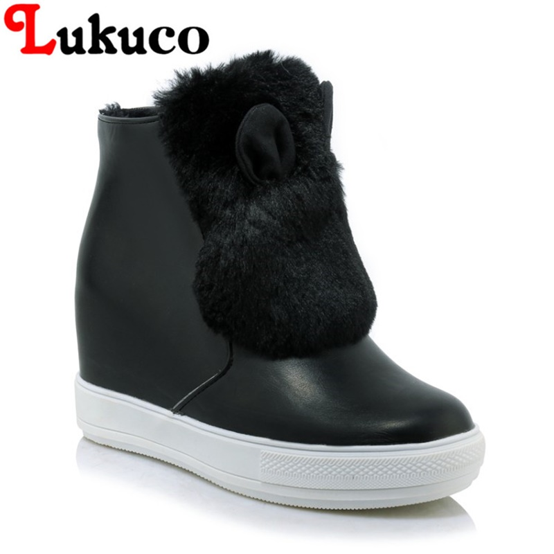 2018 Lukuco LADY SHOES big size 43 44 45 women snow boots Height Increasing design high quality WARM WINTER shoes FREE SHIPPING